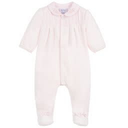 Absorba Absorba Girls Velour Pink Babygrow with Flower Detail