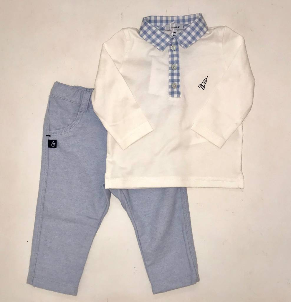 Absorba Absorba  Boys 2 piece Trousers and Polo with Check collar