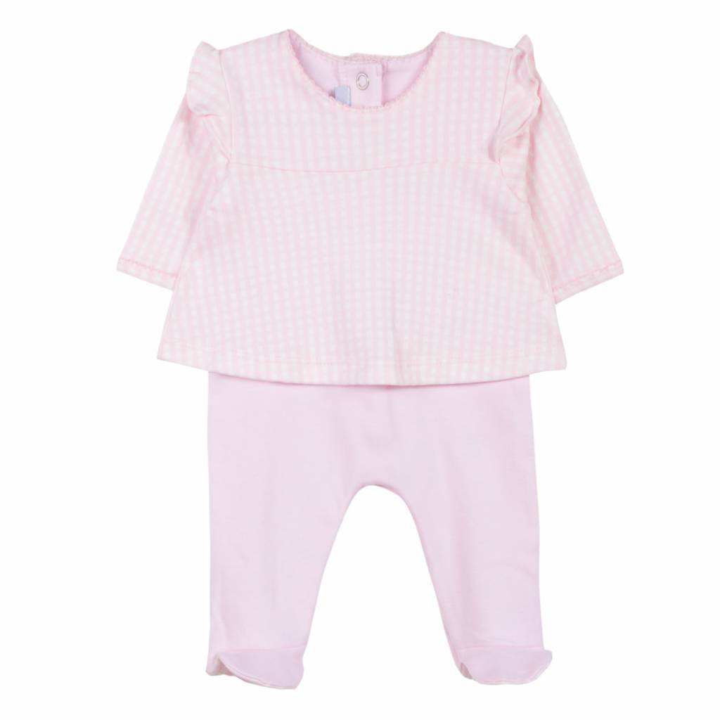 Absorba Absorba Girls Pink Checked Babygrow