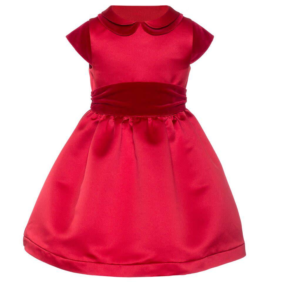 Patachou Patachou Girls Red Velour Detailed Dress