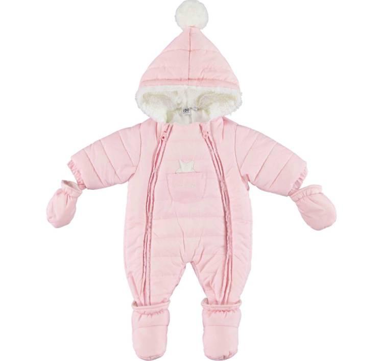 Ido iDO Girls Pink Snowsuit with Pom Pom