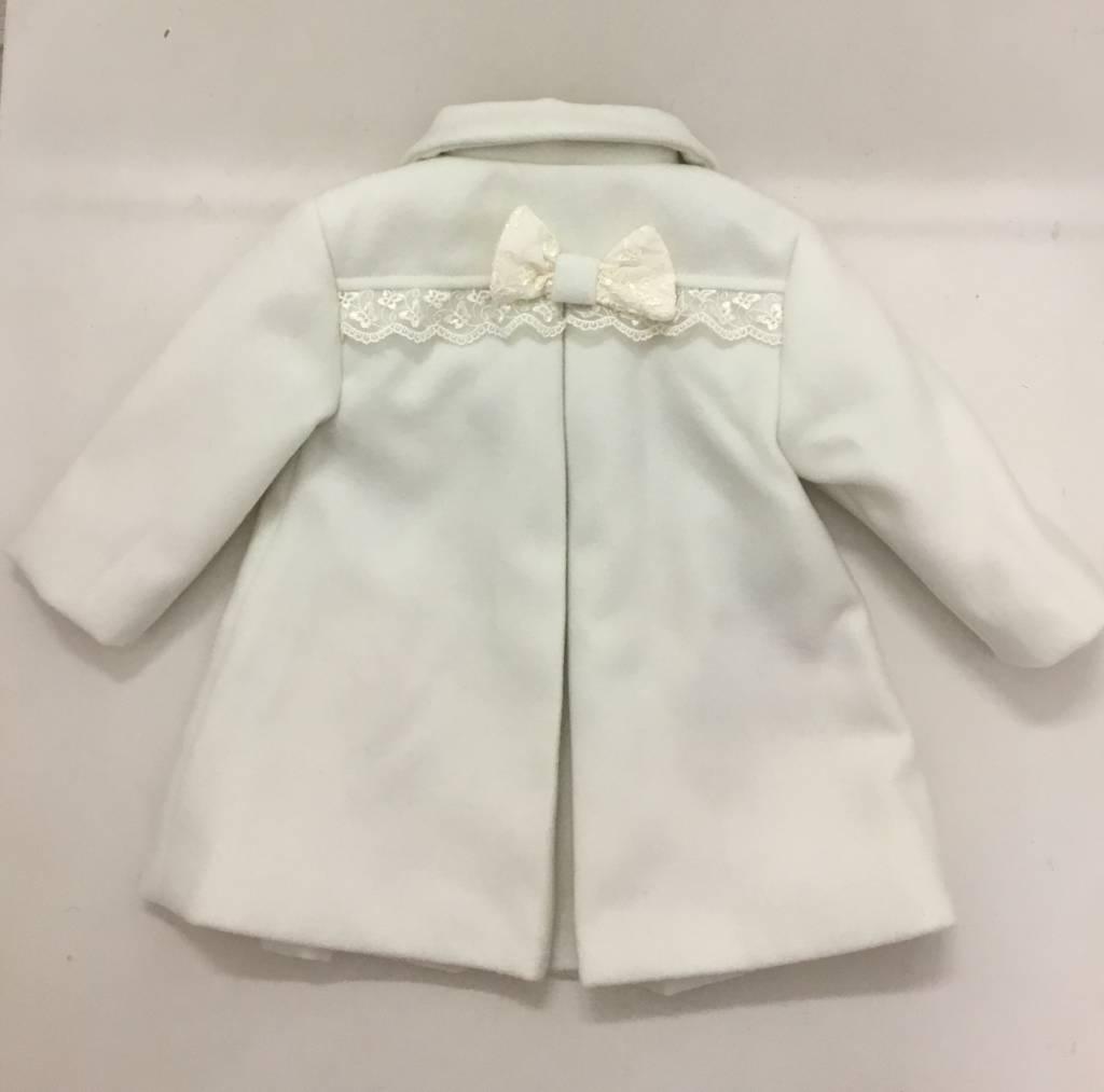 Piccola Speranza Piccola Speranza Ivory Wool Coat with Bow Detail