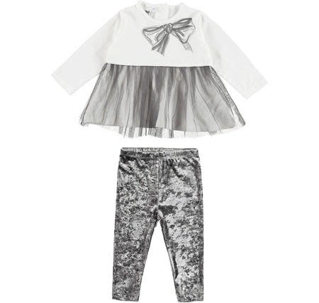 Ido iDO Girls Grey Crushed Velvet Legging Set