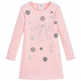 Lechic LeChic Pink Dress with Polka Dot & Bow Detail