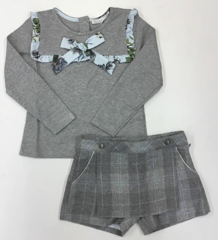 Patachou Patachou Girls Grey and Blue Skort Set