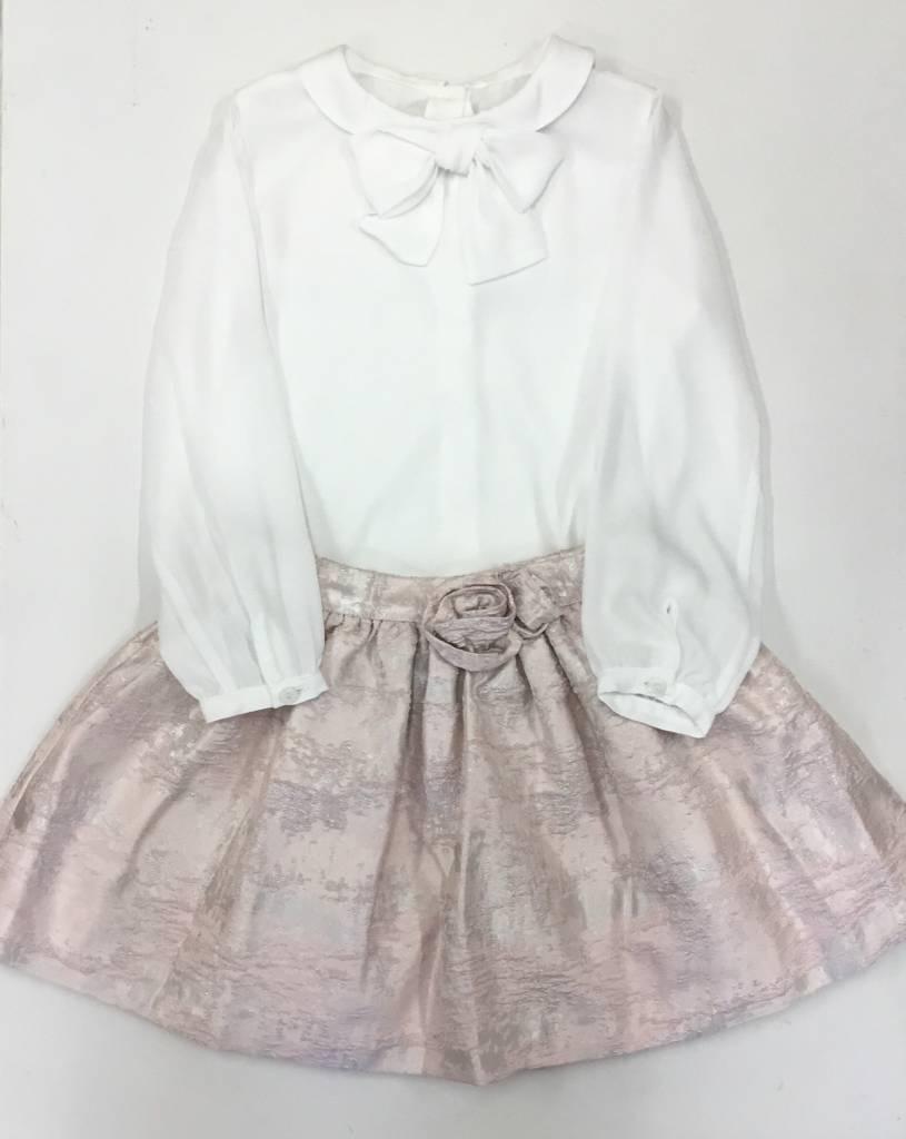 Patachou Patachou Girls Pink Jacquard Skirt Set