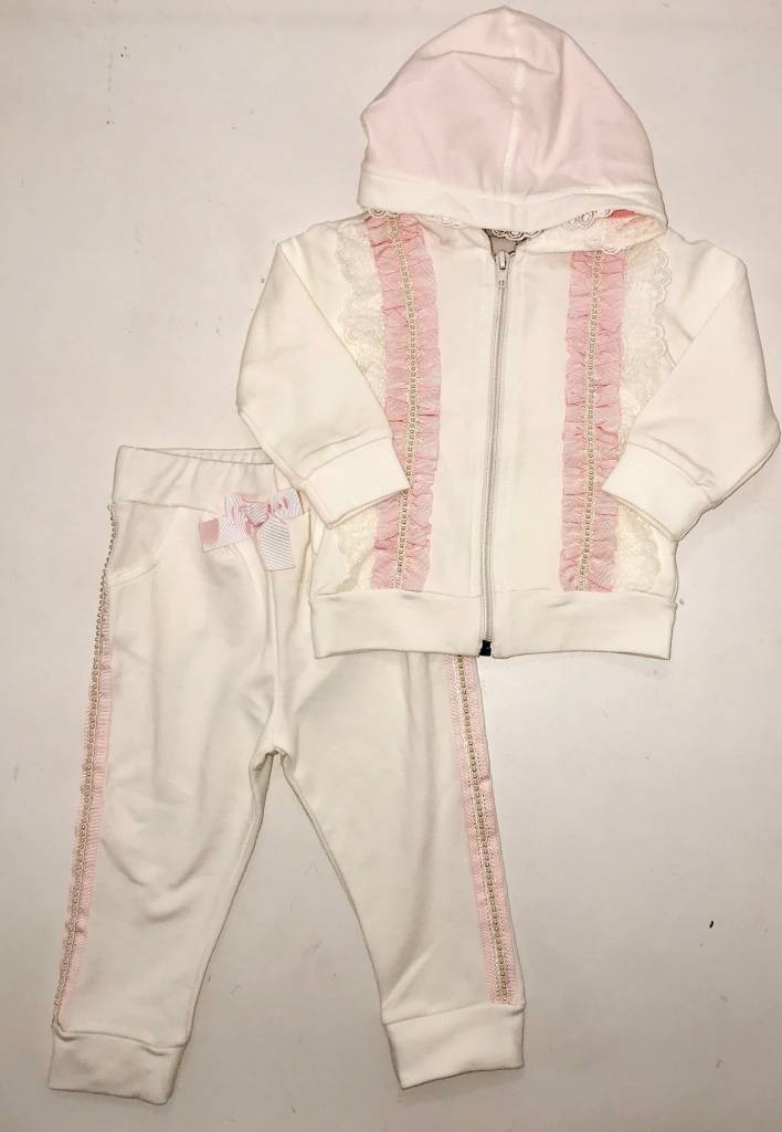 Little Lady Girls Tracksuit With Pearl Detail