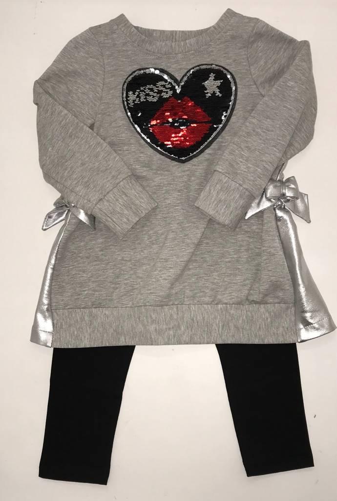 Daga Daga Girls Legging Set with Sequin Heart