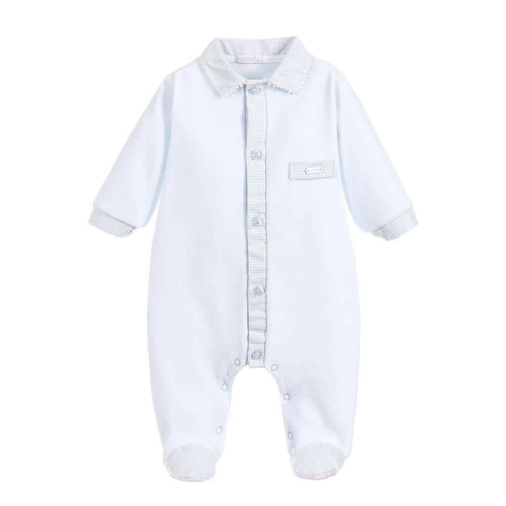 Coco Collection Coco Collection Boys Check Collar & Trim Babygrow