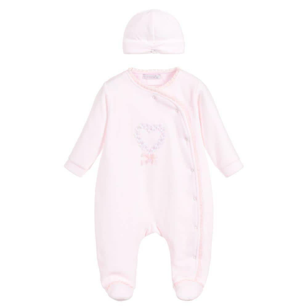 Coco Collection Coco Pink Velour Babygrow with Petal Detail