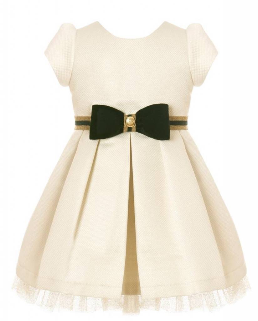 Balloon Chic Balloon Chic Gold Dress with Velvet Bow