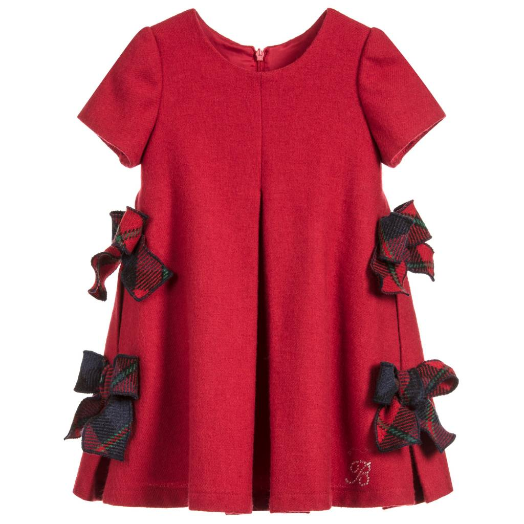 Balloon Chic Balloon Chic Red Woolen Dress with Bow Detail