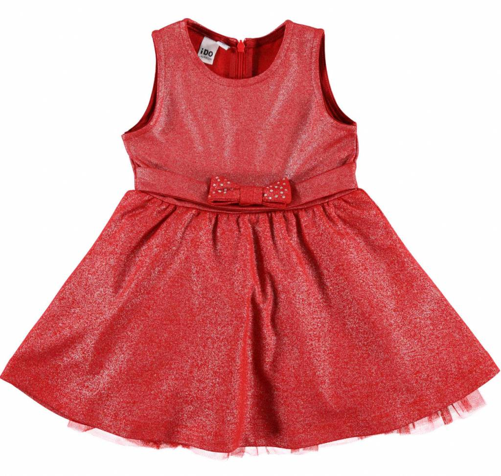 Ido iDO Red Glitter Sleeveless Dress with Bow