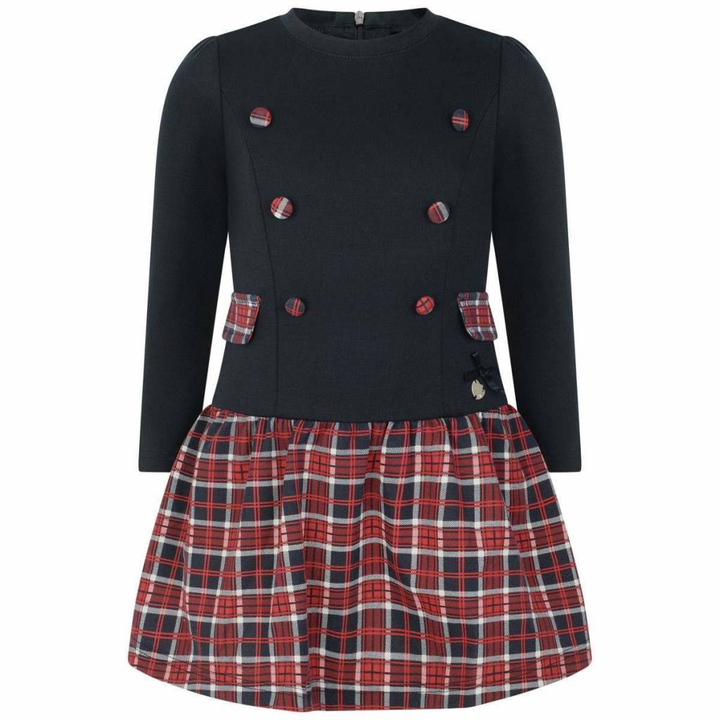Lechic Le Chic navy dress with tartan trim