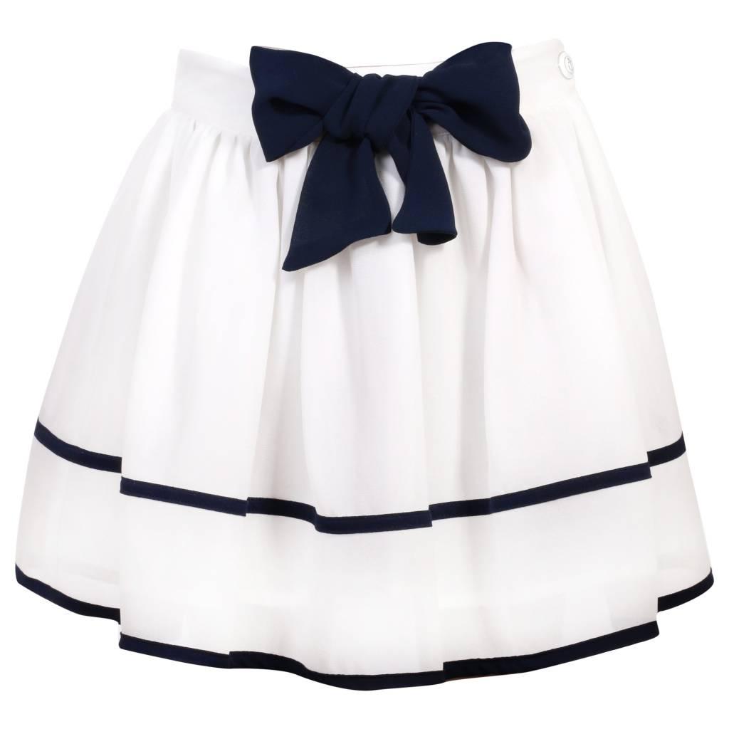 Patachou Patachou White Top And Skirt Set With Blue Trim