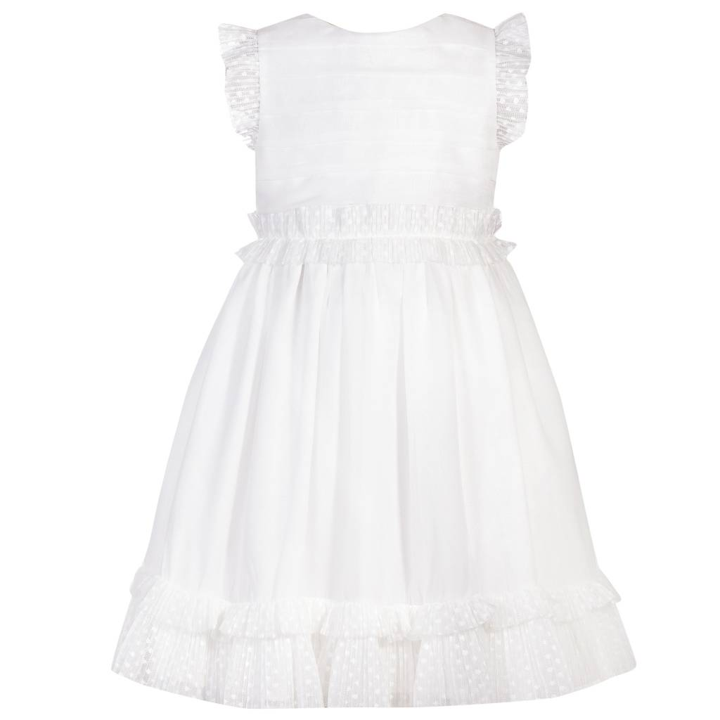 Patachou Patachou White Dress With Dot Trim