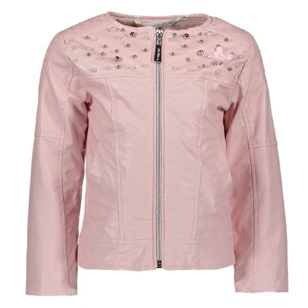 Lechic LeChic Pink Leather Jacket With Stone Detail