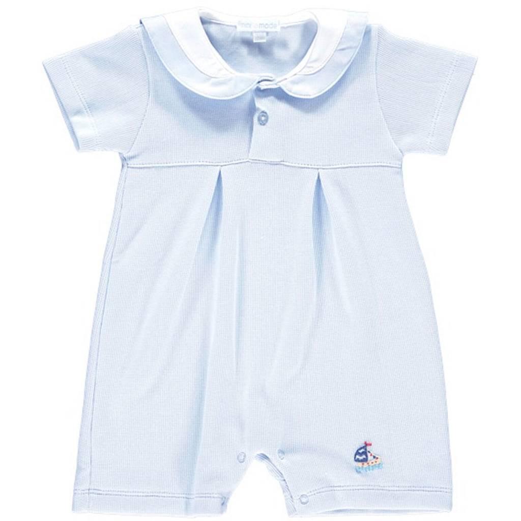 Mini La Mode Mini-La-Mode Blue Sailboat Knit Romper