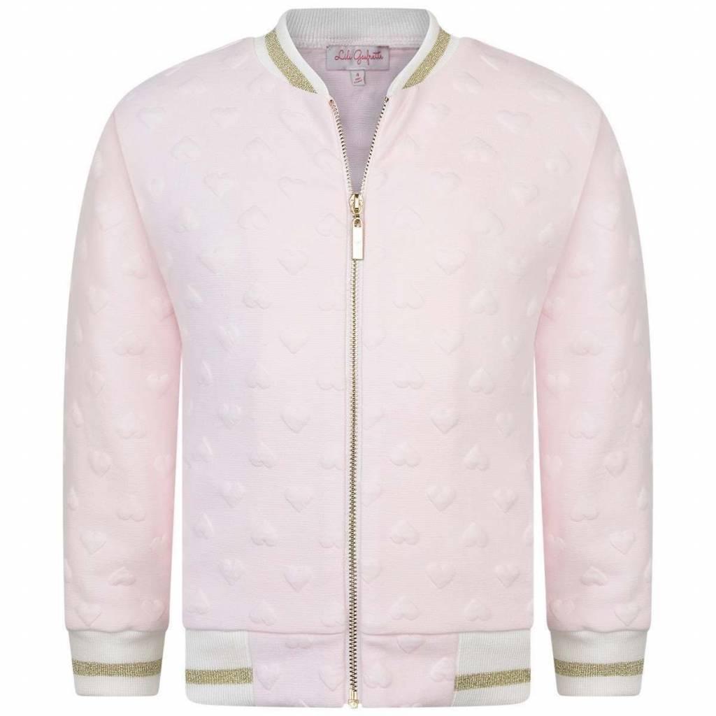 56a21e834 Lili Gaufrette Lili Gaufrette Granite Pink heart Jacket with gold zip  detail ...