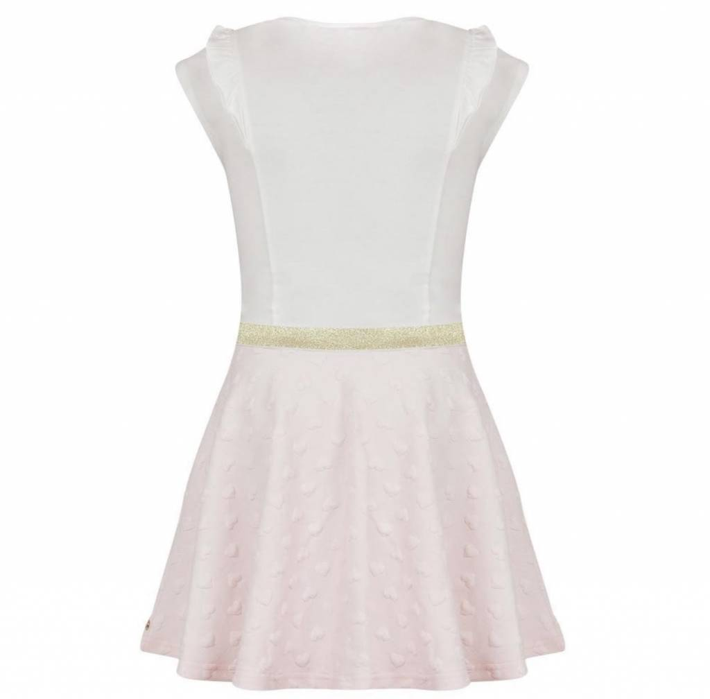 Lili Gaufrette Lili Gaufrette Galion White / Pink Cotton Dress With Gold Bow