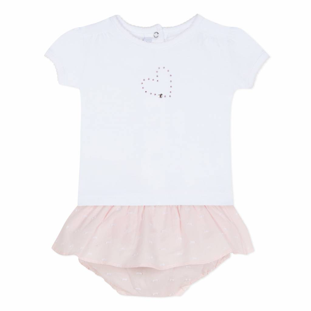 Absorba Absorba White Top and Pink Bottoms set with Crystal Heart