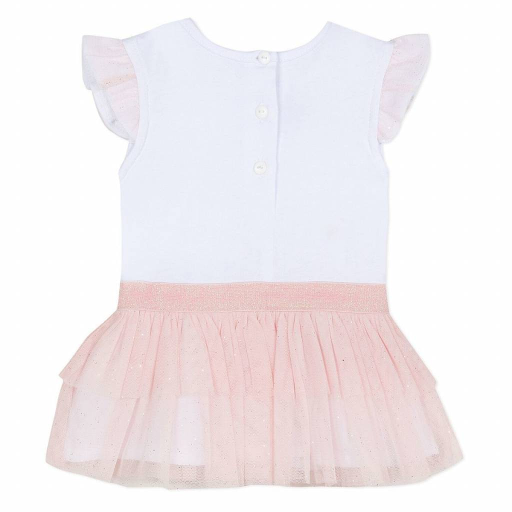 Absorba Absorba Girls Cotton & Tulle Dress With Crystal Heart