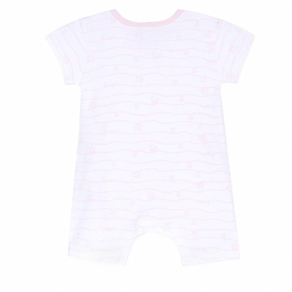 Absorba Absorba White Short Romper With Pink Trim