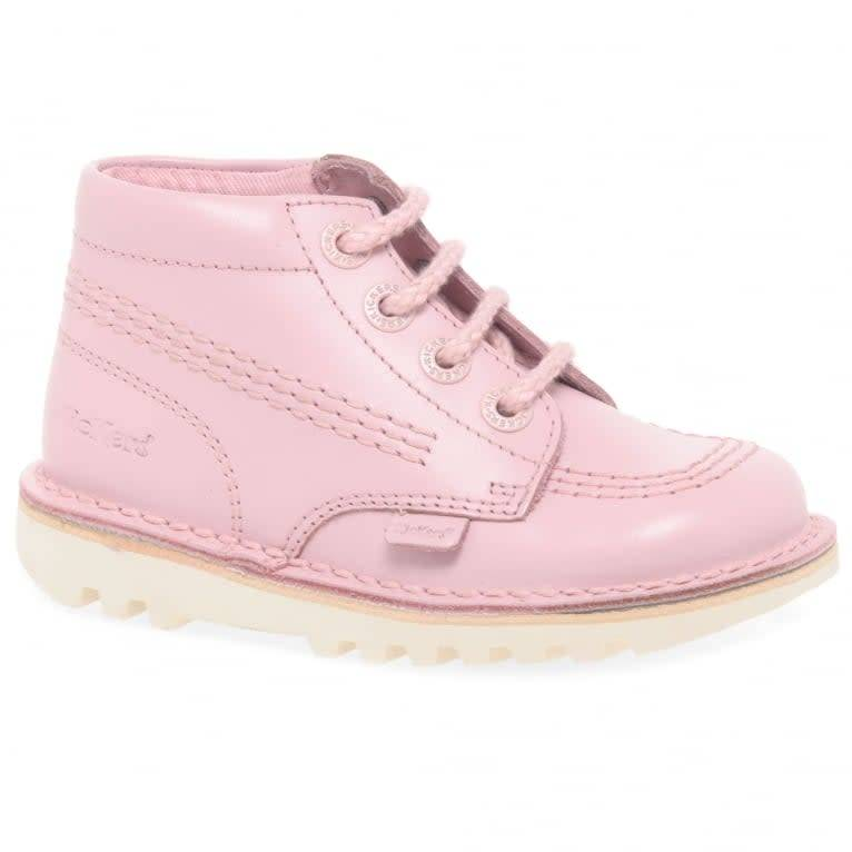 kicker Kickers Hi Leather Chalk Pink