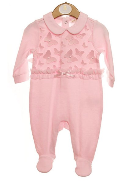 Mintini Mintini Pink Butterfly Detail Babygrow