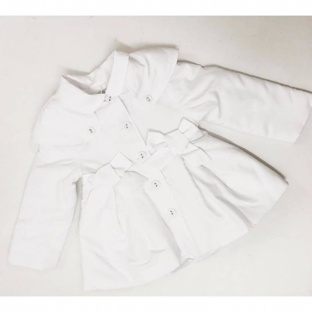 Patachou Patachou White Girl Coat with Bow Detail