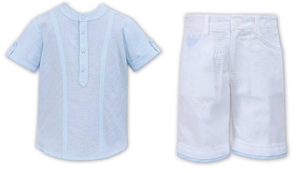 Sarah Louise Dani Pale Blue Check Shirt with Poplin Collar and Shorts set