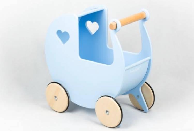Blue Moover Wooden Dolls Pram