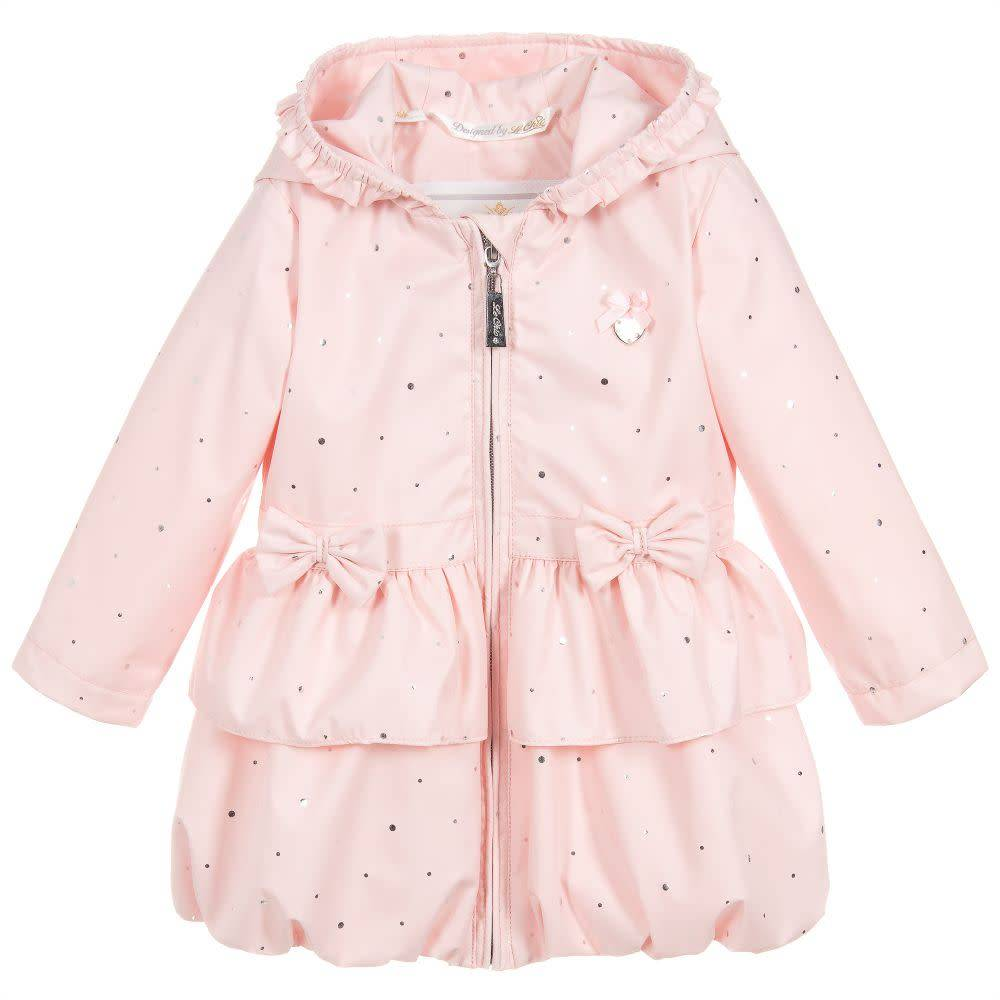 Lechic Lechic Baby pink coat with silver dots and bows 7211