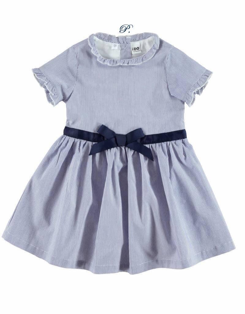 Ido Ido Girls Fine stripe blue dress with navy bow detail