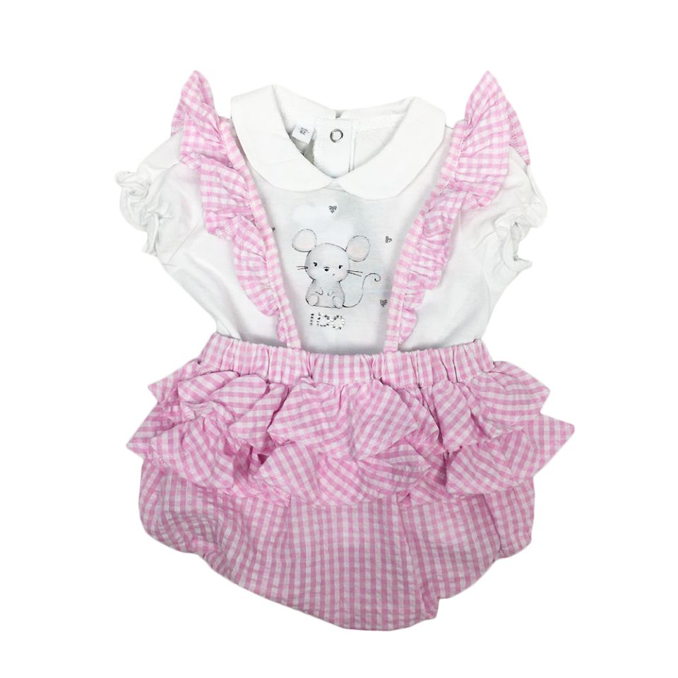 Ido iDO Mouse Tee & Pink Gingham Bloomers Set
