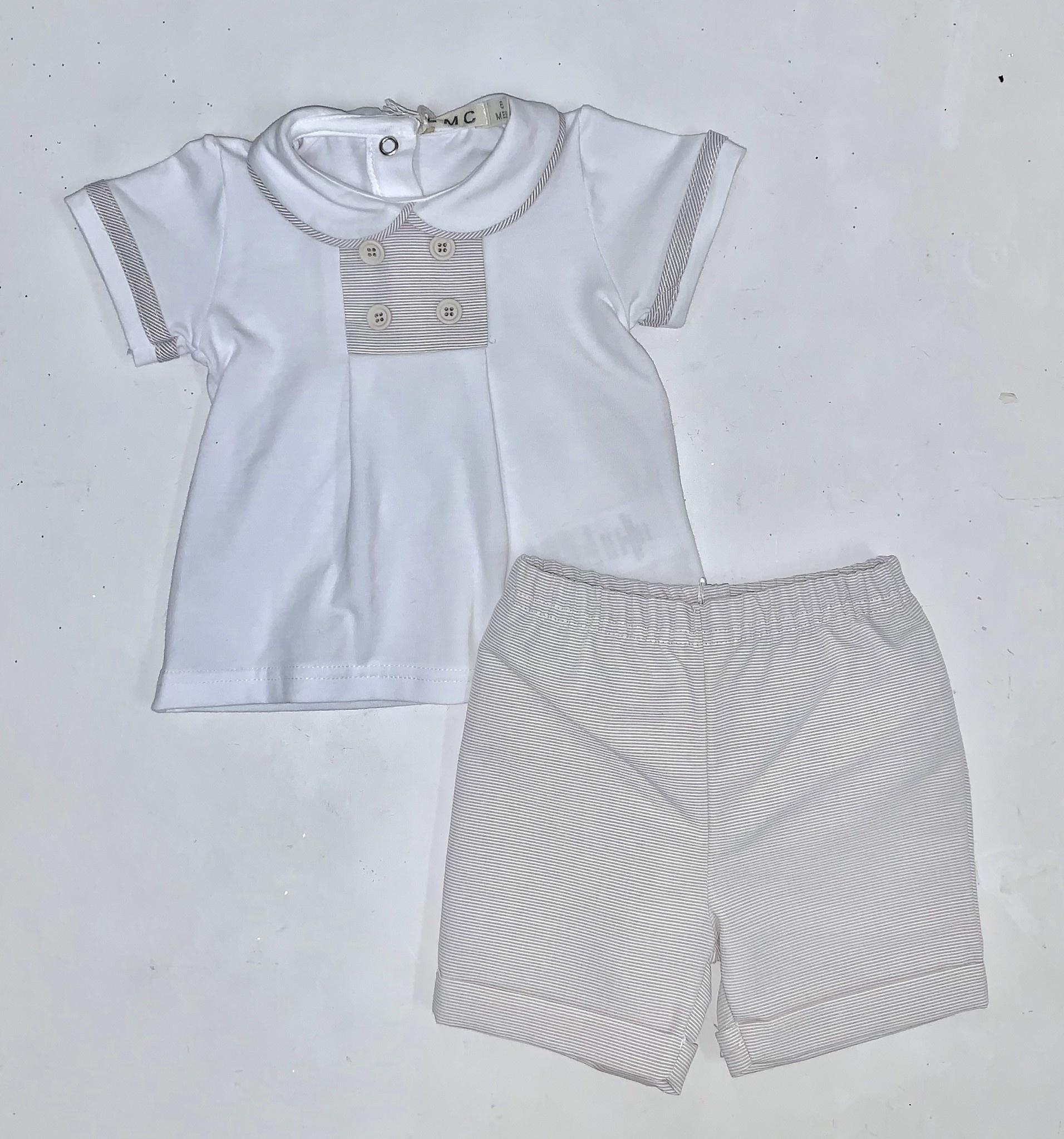 EMC EMC White Top, Button Detail & Fine Grey Stripe Shorts Set