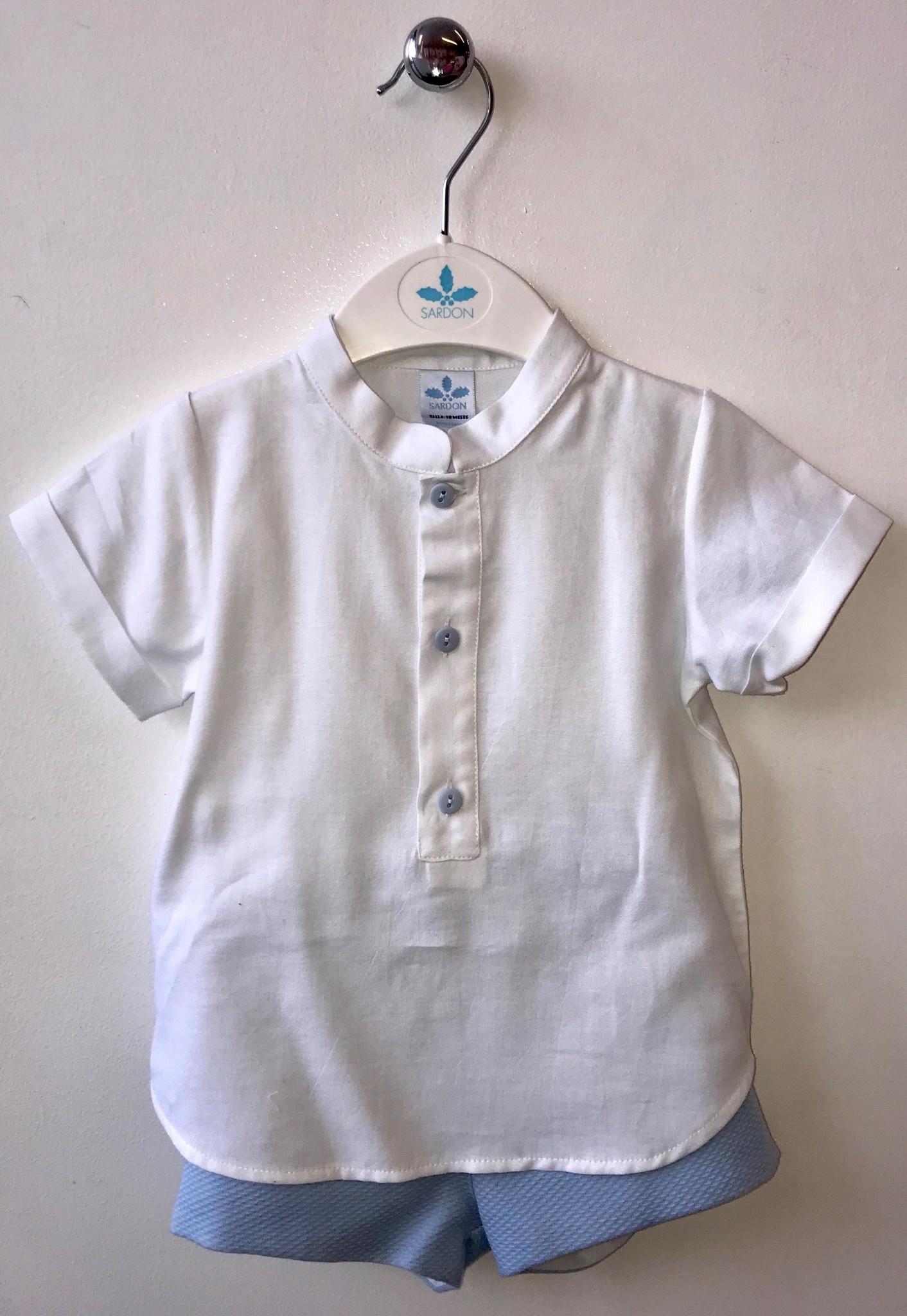Sardon Sardon Boys White Linen Shirt Set