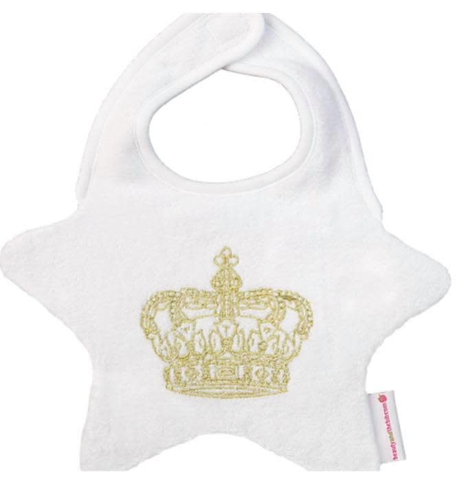 Beauty And The Bib B&B White Star Bib With Gold Crown