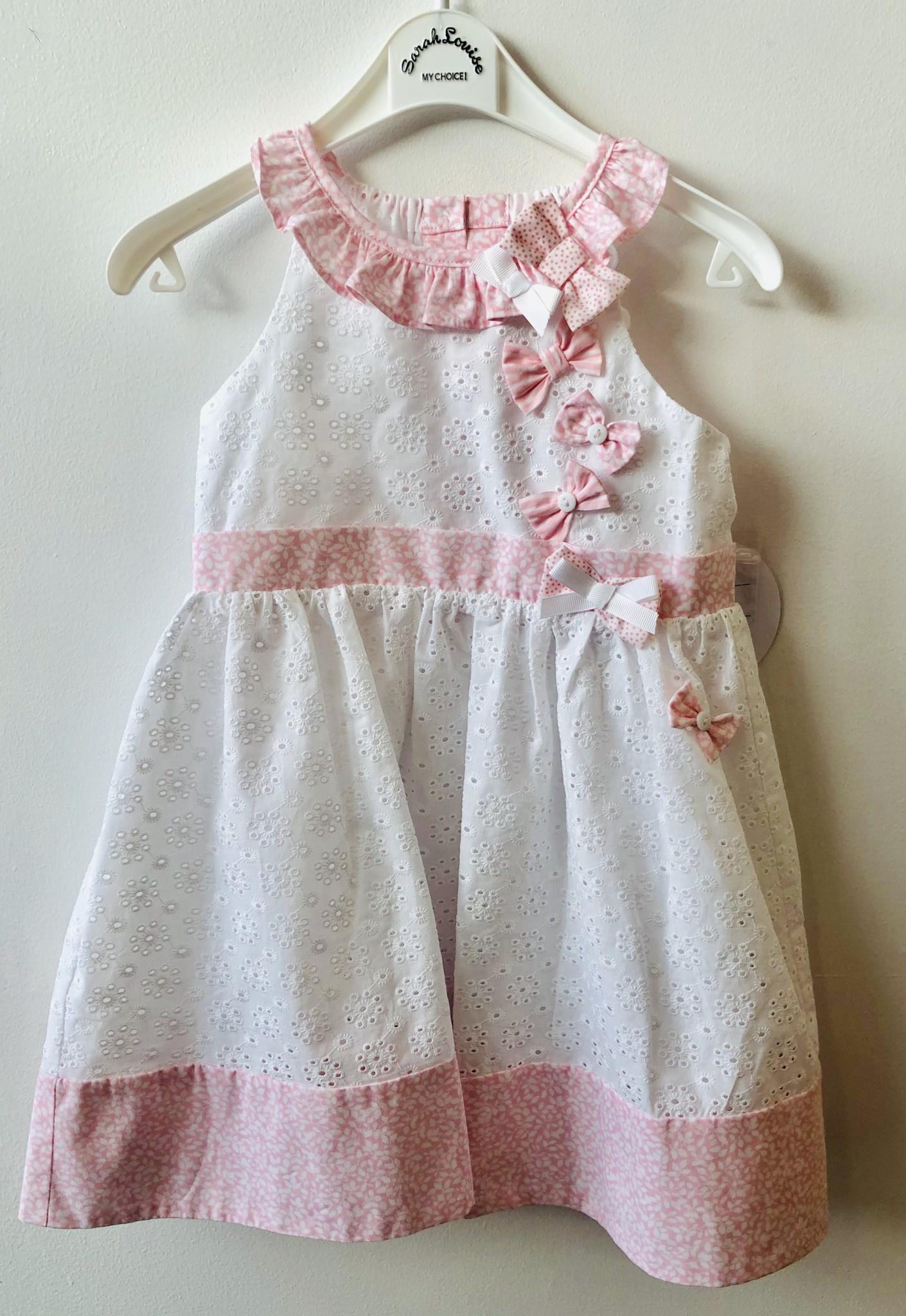 Sarah Louise Sarah Louise 011564 white and pink dress