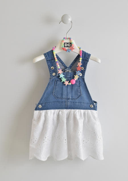 Ido IDo Denim Top and White Cotton Skirt Dress
