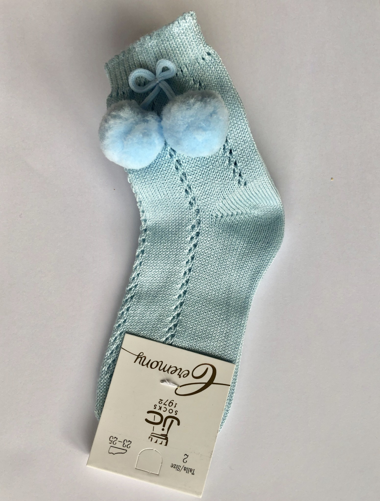 JC Socks JC Socks Pale Blue Open Weave Socks With Pom Pom