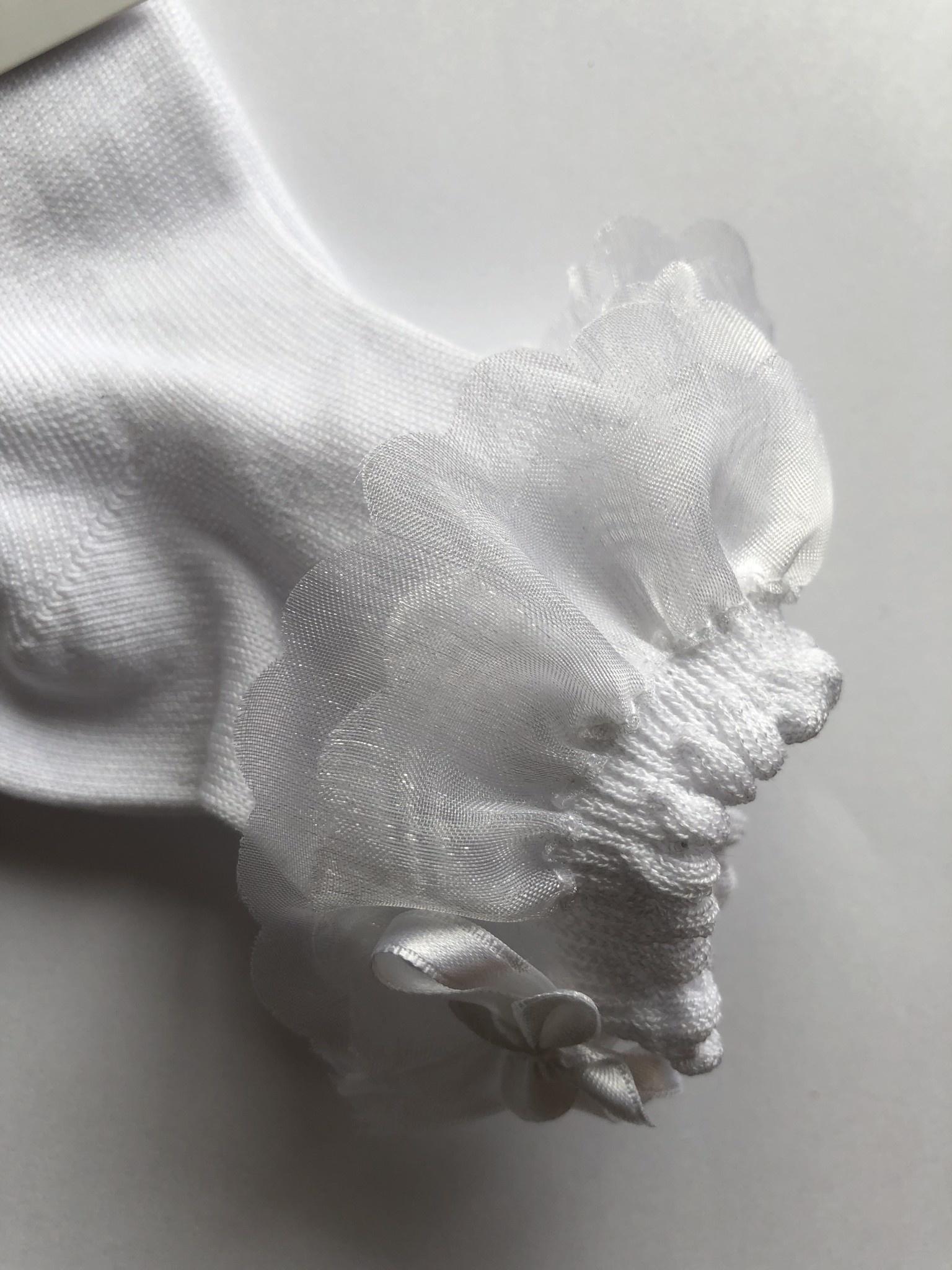 JC Socks JC Socks White Ankle Sock, Chiffon Ruffle with Bow