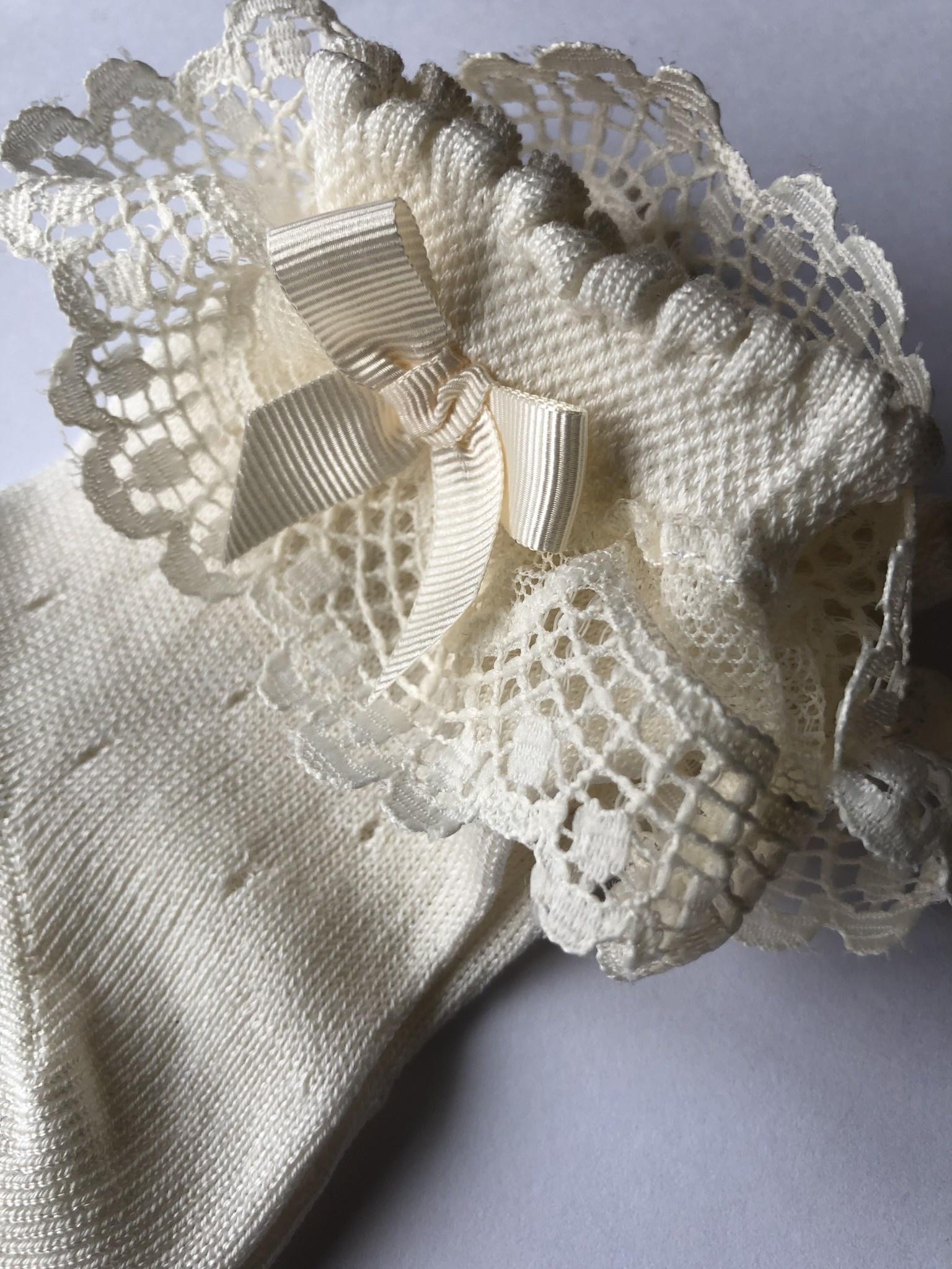 JC Socks JC Socks Cream Open Weave Ankle Sock With Lace Ruffle