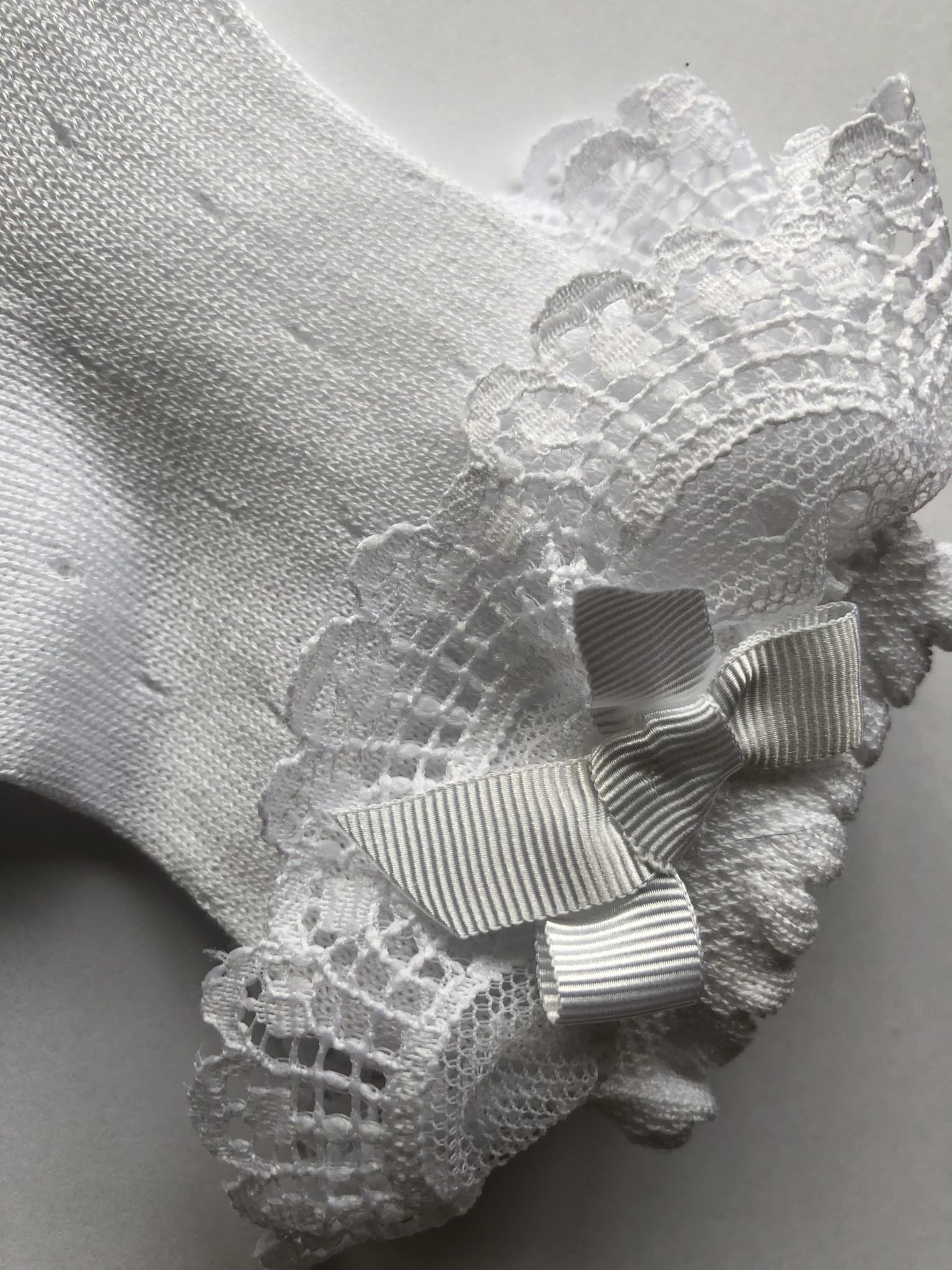 JC Socks JC 32626 White Open Weave Ankle Sock Lace Ruffle