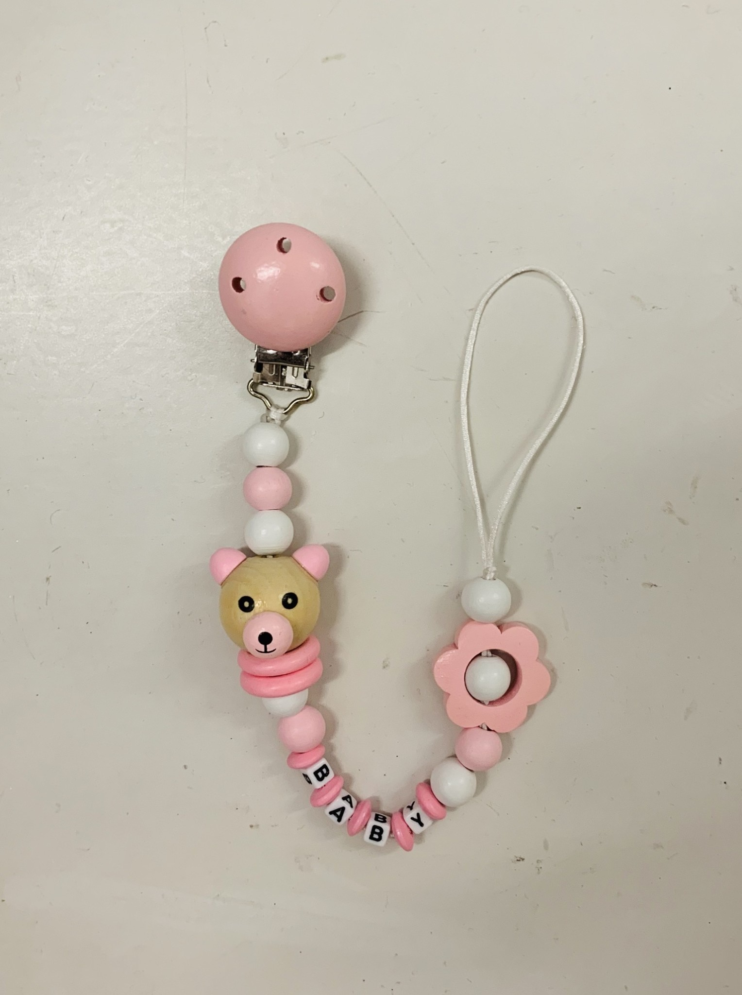 Bear Dummy/Soother Clip - Pink