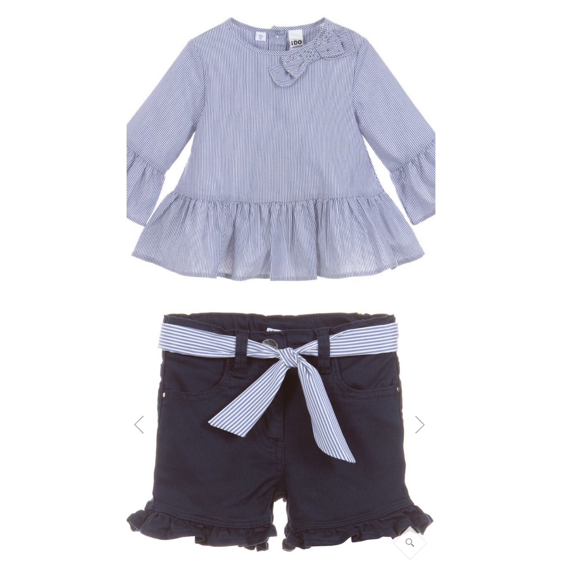 Ido IDo Girls Blue Striped Cotton Blouse & Short Set
