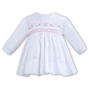 Sarah Louise Sarah Louise White Smock Style Dress With Round Collar 11267