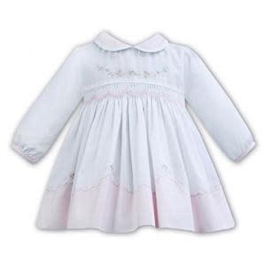 Sarah Louise Sarah Louise Pink and White Smock Dress 11275