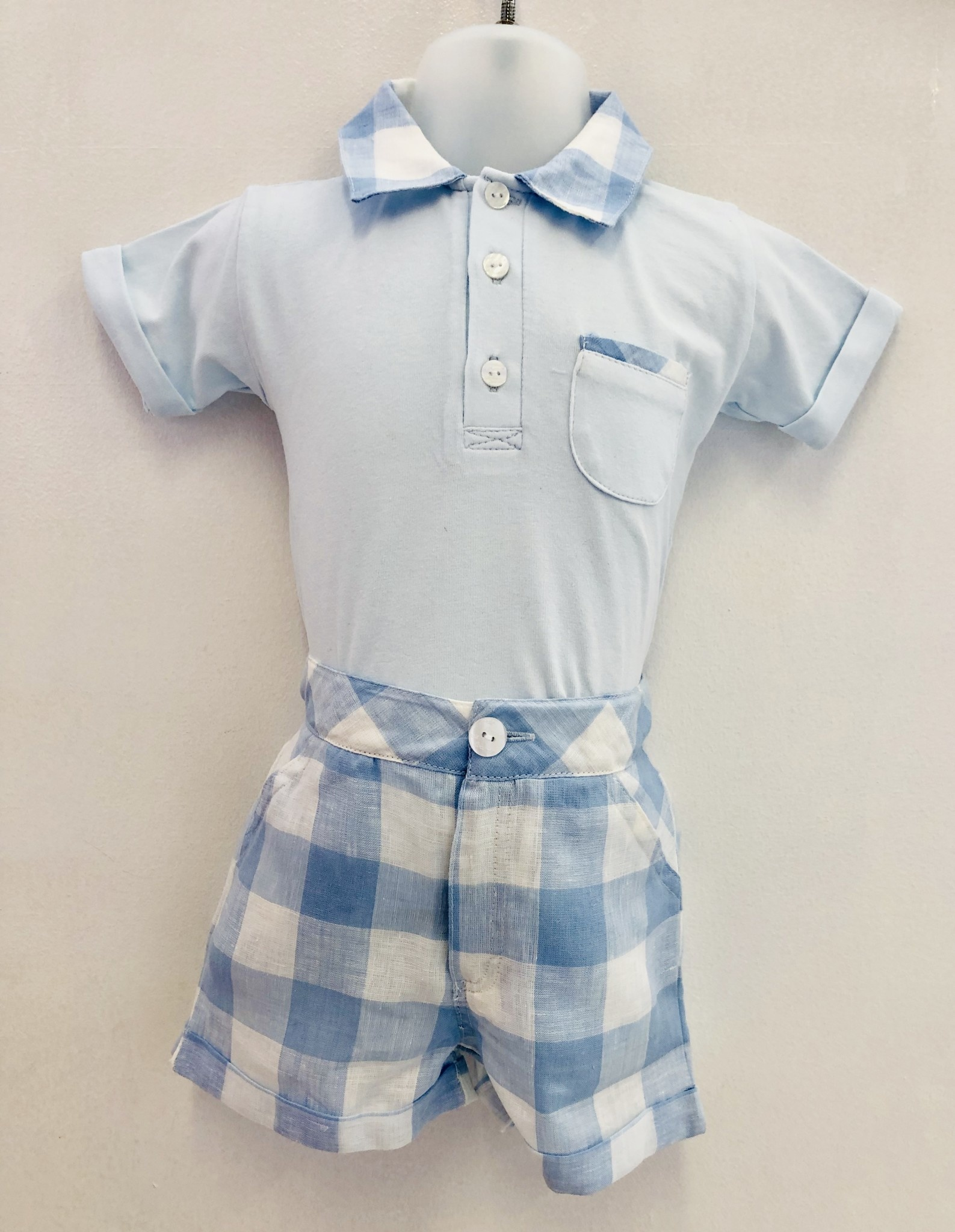 Coccode Coccode Pale Blue Check Top and Linen Short Set