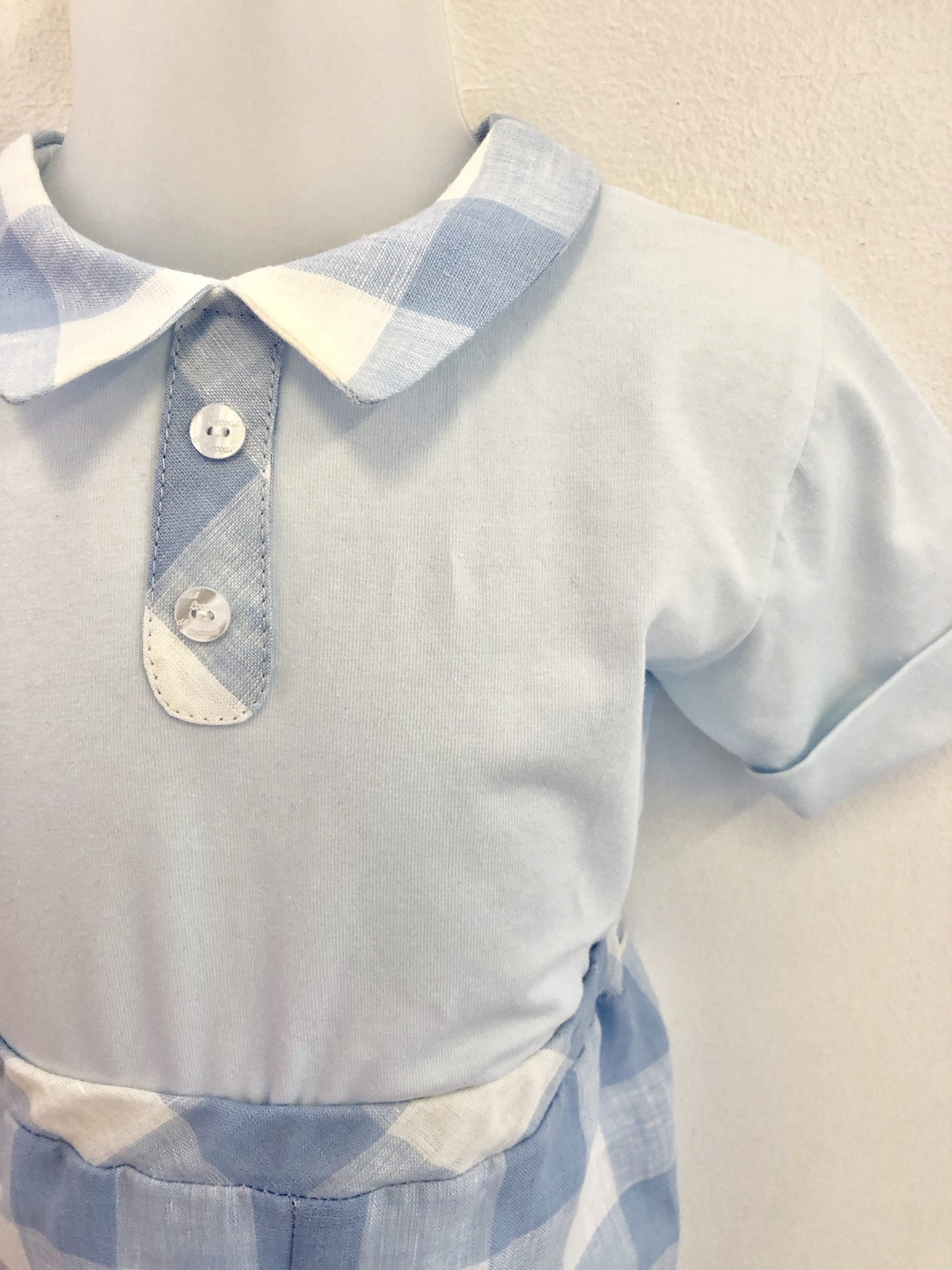 Coccode Pale Blue Check Baby Top and Linen Short Set